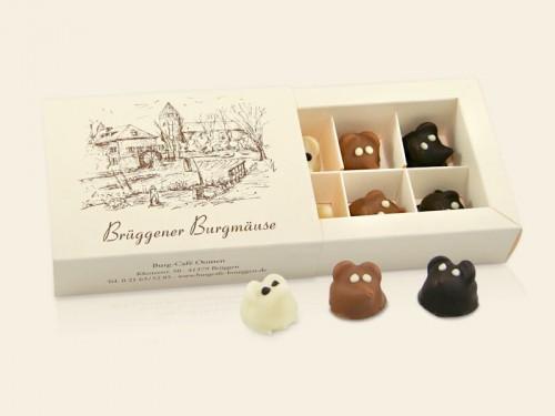 6 Bürgmäuse in Weisser Schokolade, Vollmich und Zartbitter in Verpackung